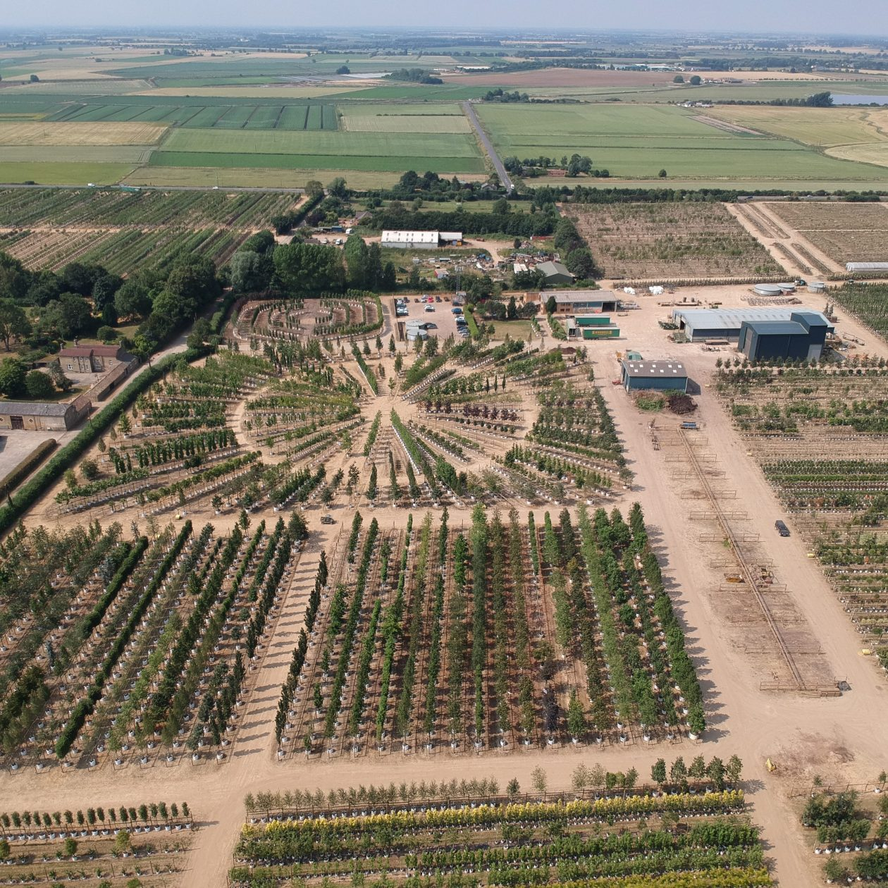 The tree nursery at Barcham Trees showing the circular display area